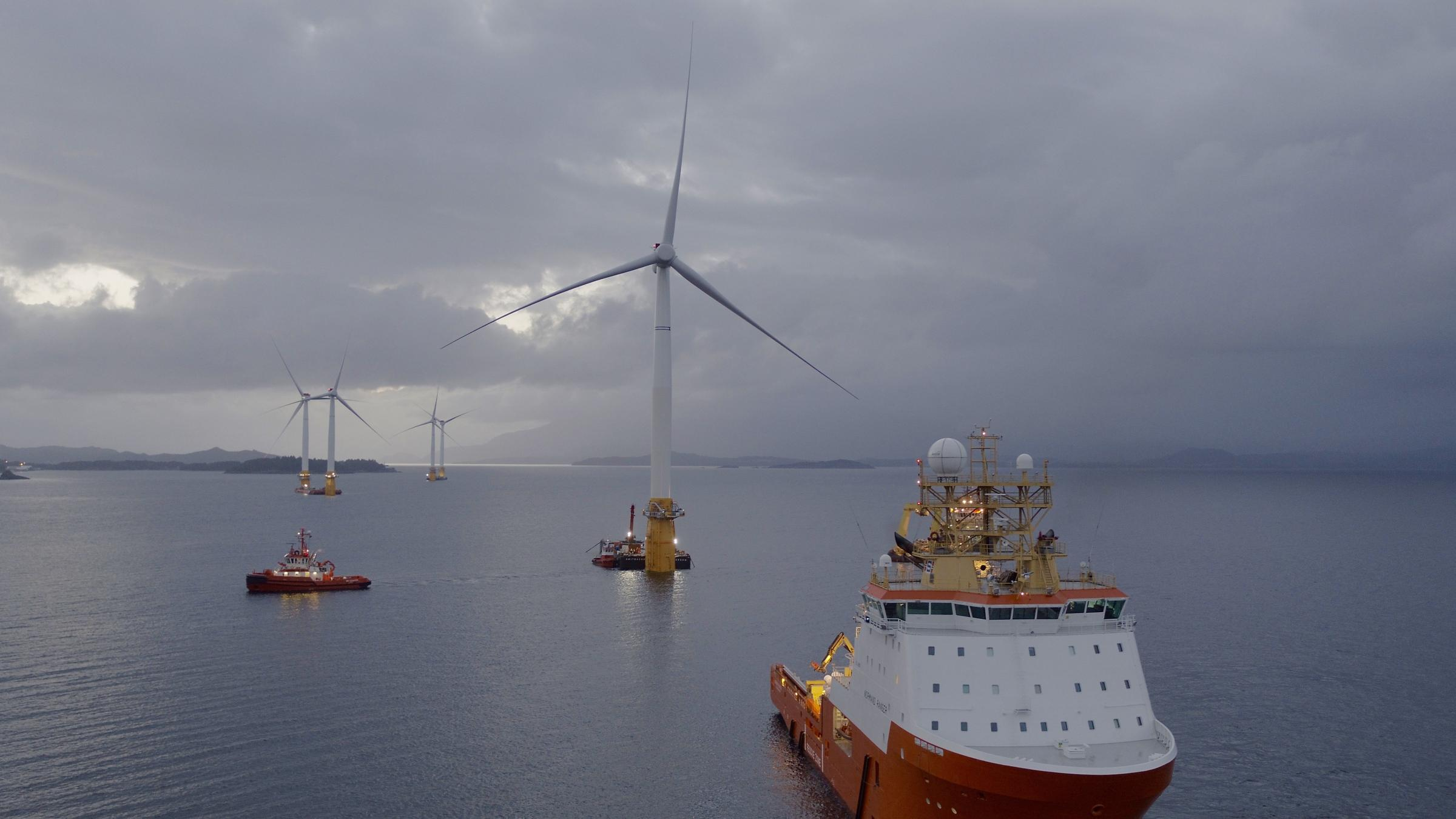 The Hywind project is the world's first floating windfarm.