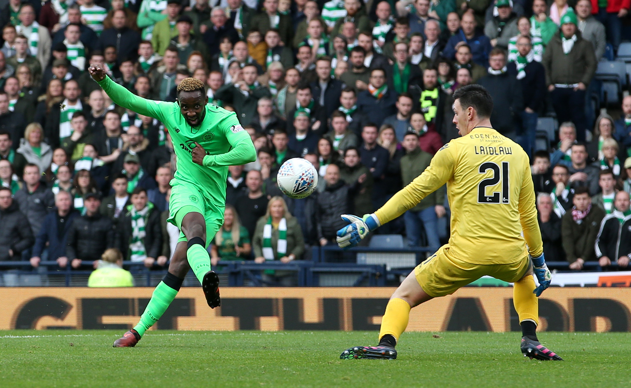 Celtic's Moussa Dembele scores his side's fourth goal of the game during the Betfred Cup, semi-final match at Hampden Park, Glasgow. PRESS ASSOCIATION Photo. Picture date: Saturday October 21, 2017. See PA story SOCCER Hibernian. Photo credit shou