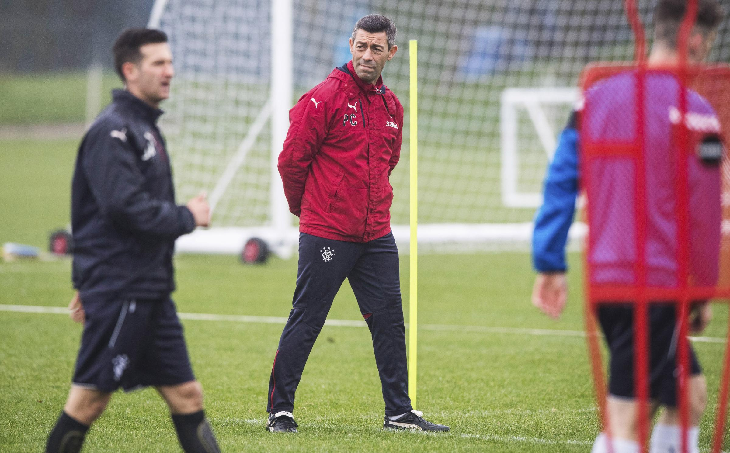 Rangers manager Pedro Caixinha oversees training at Auchenhowie yesterday.
