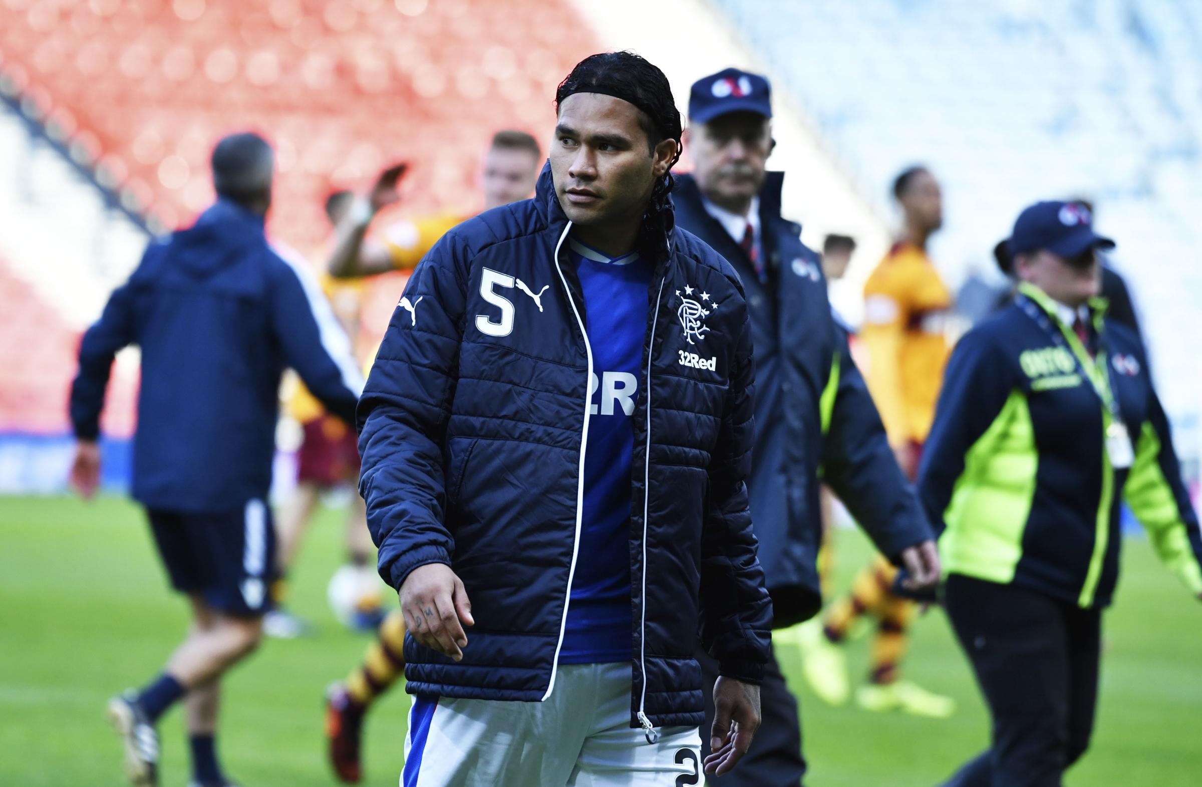 Rangers forward Carlos Pena at full-time on Sunday.