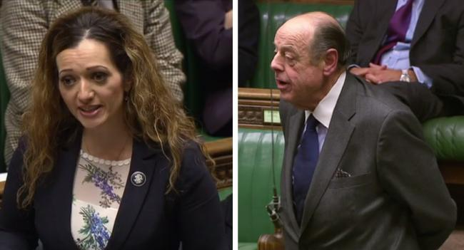 Tasmina Ahmed-Sheikh (left) was woofed at by Sir Nicholas Soames (right) in the House of Commons.