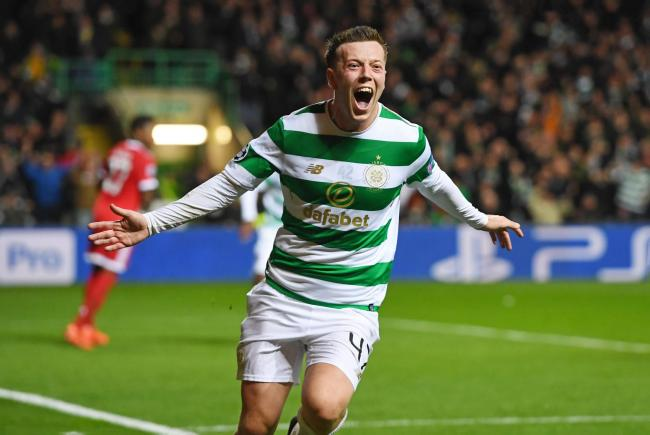 Celtic's Callum McGregor celebrates his goal to make it 1-1 against Bayern Munich. Picture: SNS