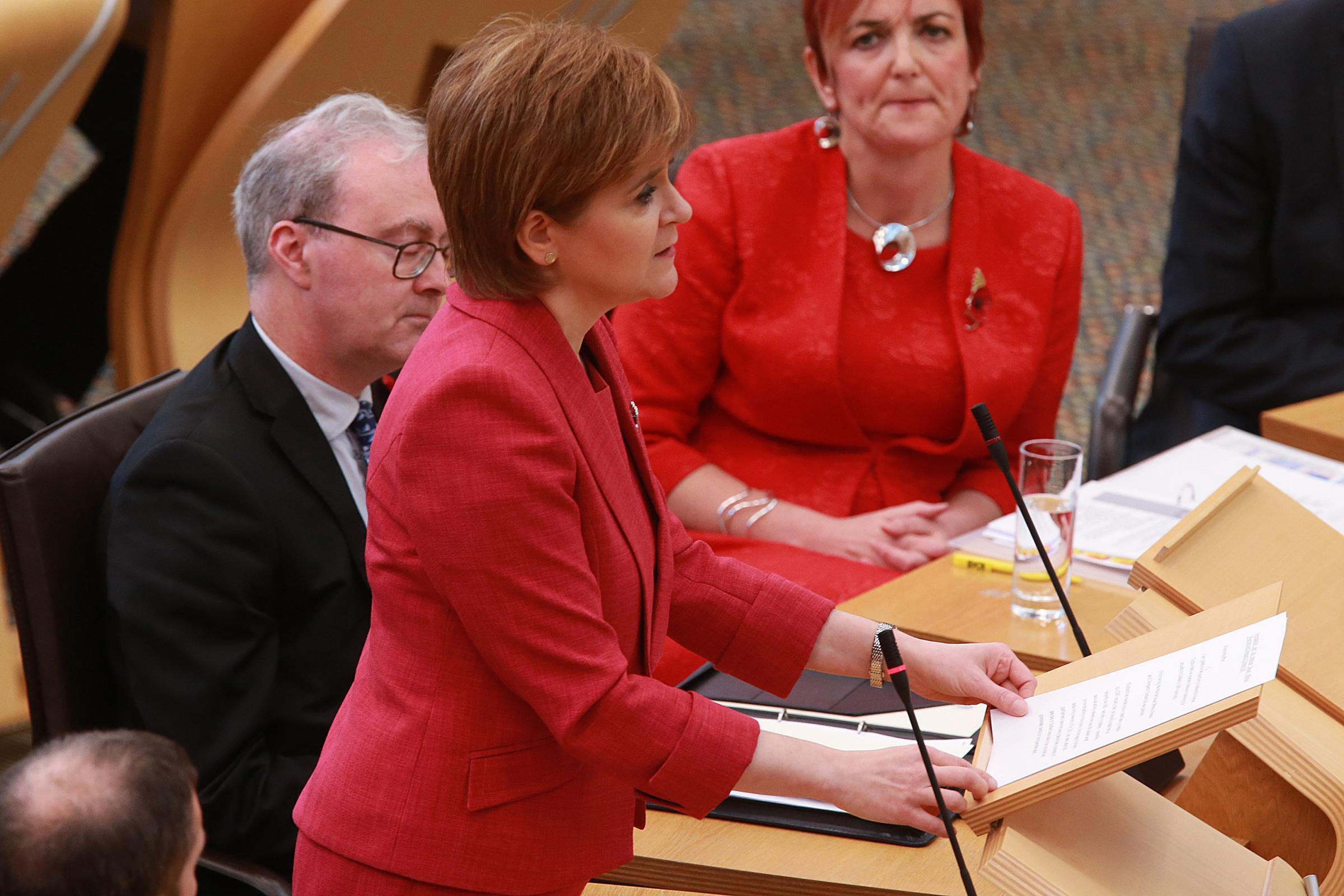 Nicola Sturgeon address the Scottish Parliament as she gives an apology to those convicted of same-sex sexual activity that is now legal