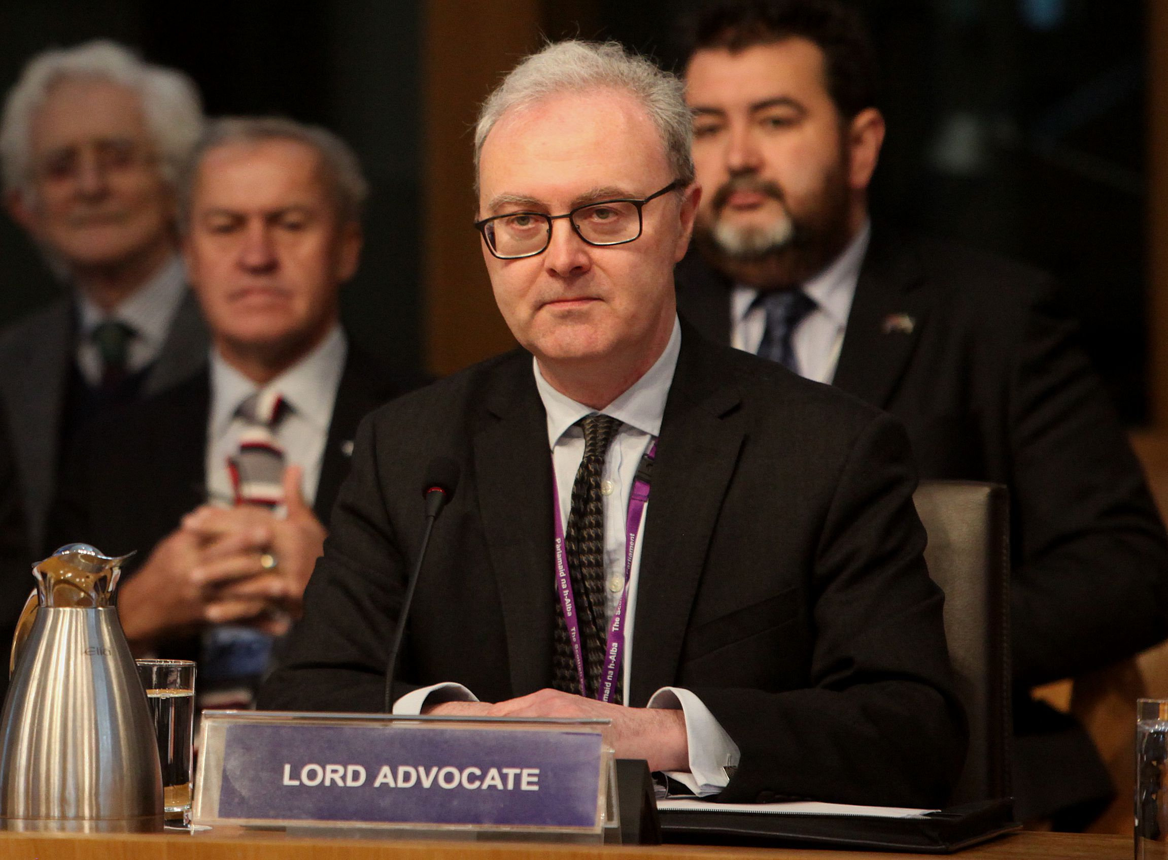 Rt Hon James Wolffe QC, Lord Advocate, gives evidence at a Scottish Parliament Justice committee  tuesday..Pic Gordon Terris/The Herald.17/1/17.