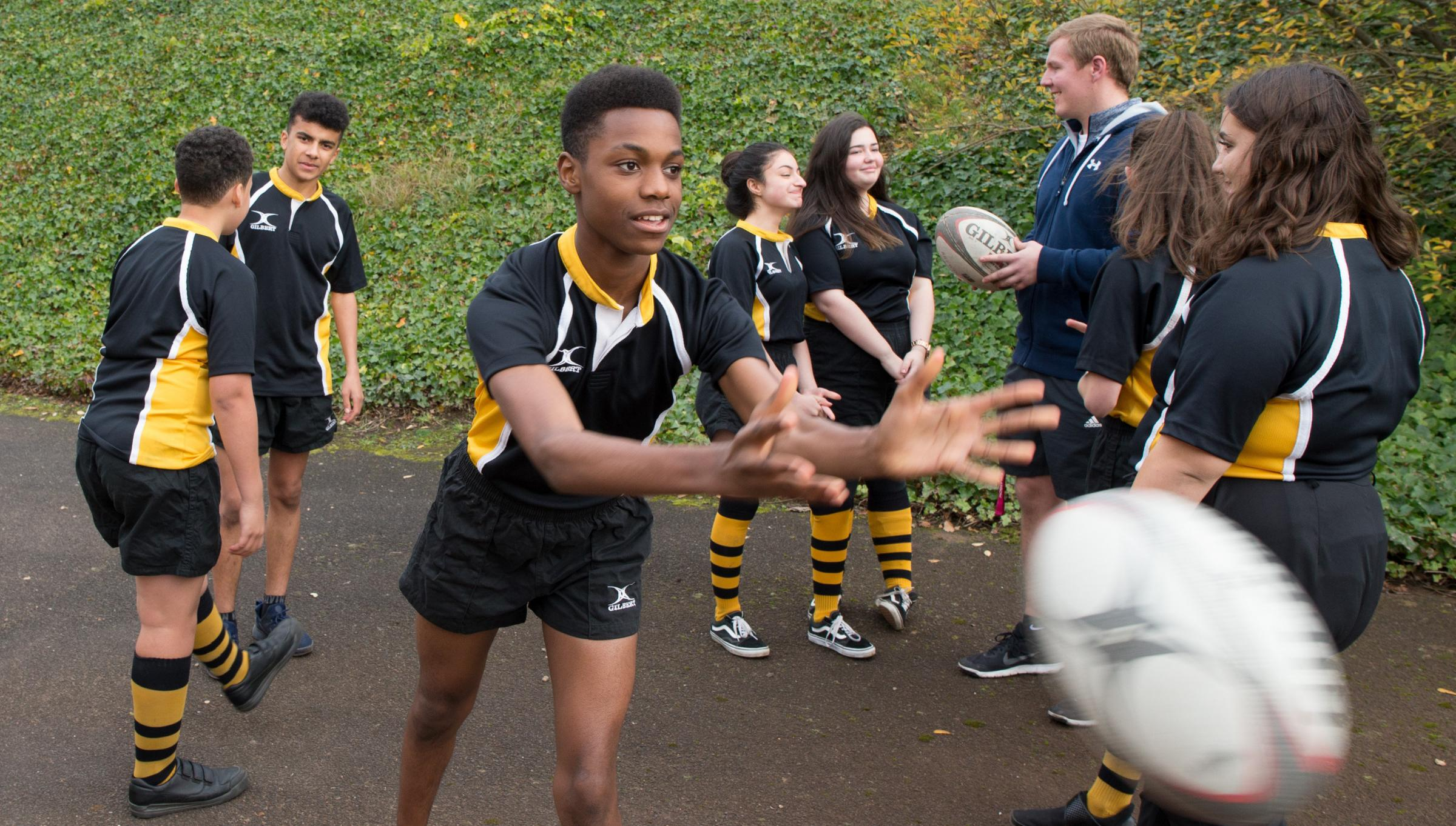 Scottish Rugby is funding a scheme to get more state school pupils playing rugby â both girls and boys - and schools in more disadvantaged areas are finding it has improved attendance and behaviour..Pictured St Thomas Aquinas Pupils have a training sessi