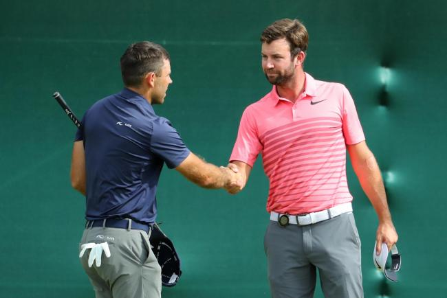 Scott Jamieson of Scotland shakes hands with Charl Schwartzel of South Africa on the 18th green during the third round of the Nedbank Golf Challenge at Gary Player CC. Picture: Getty
