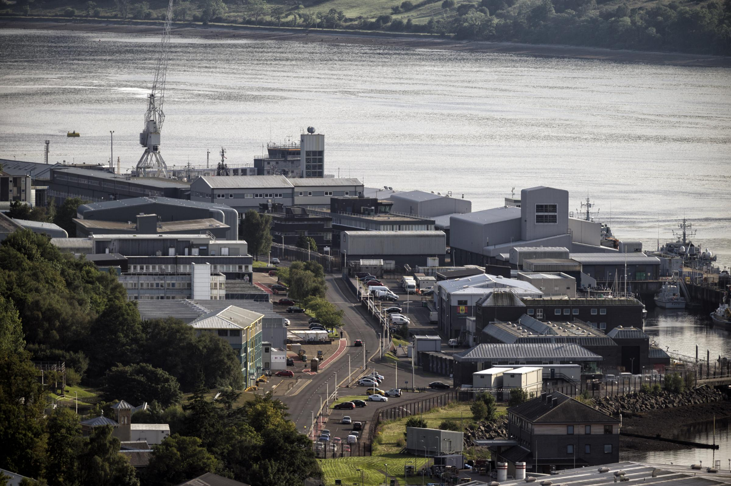 FASLANE, SCOTLAND - AUGUST 17: a general view of HMNB Clyde also known as Faslane on August 17, 2016 in Faslane, Scotland. HM Naval Base Clyde – commonly known throughout the Navy as Faslane – is the Royal Navy's main presence in Scotland. It is hom