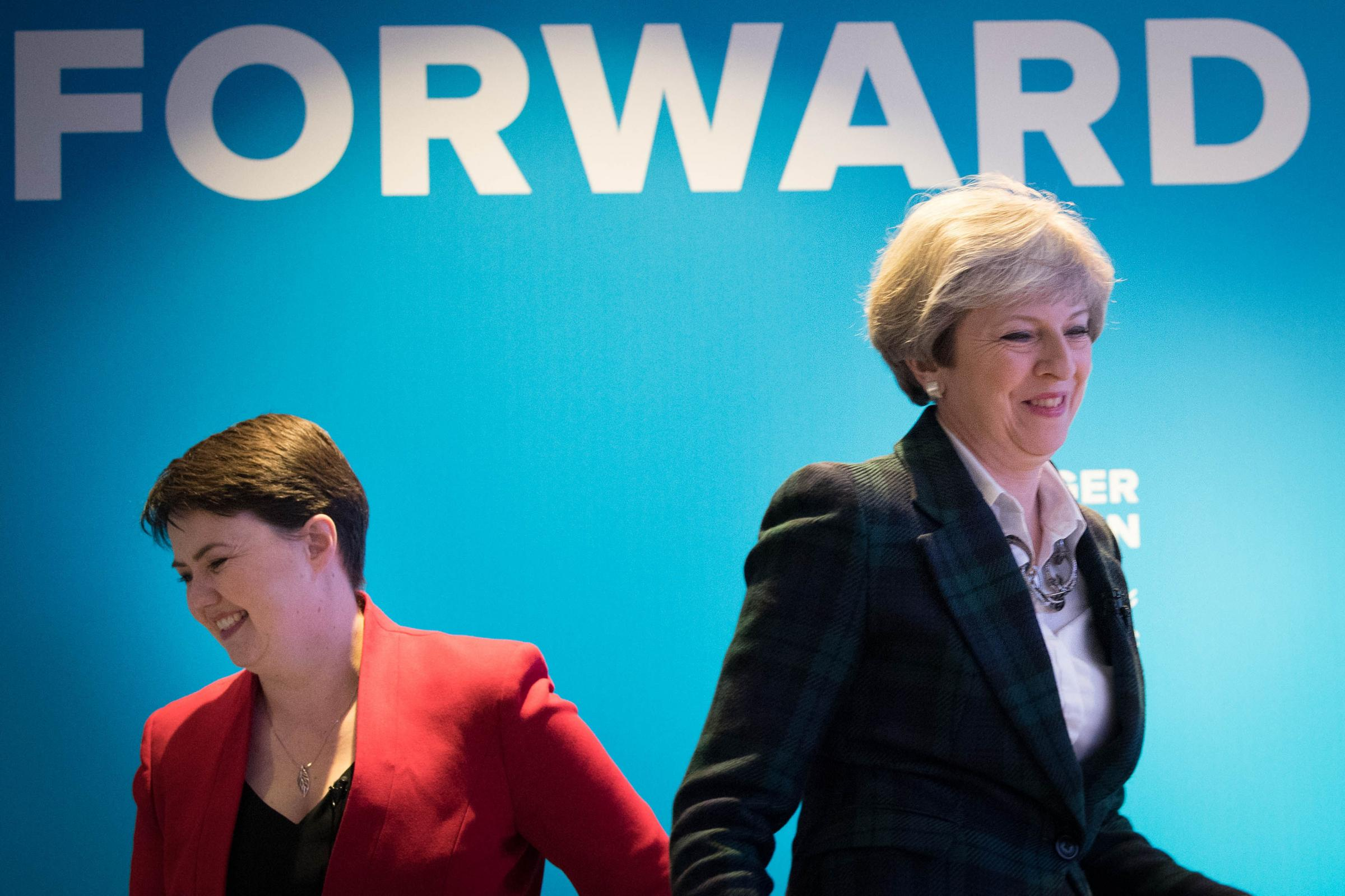 Prime Minister Theresa May (right) with Scottish Conservative leader Ruth Davidson. Photograph: Stefan Rousseau/PA Wire.
