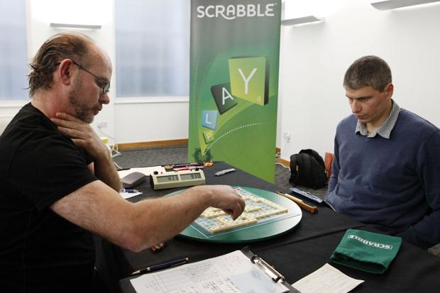 Allan Simmons, left, was a champion Scrabble player