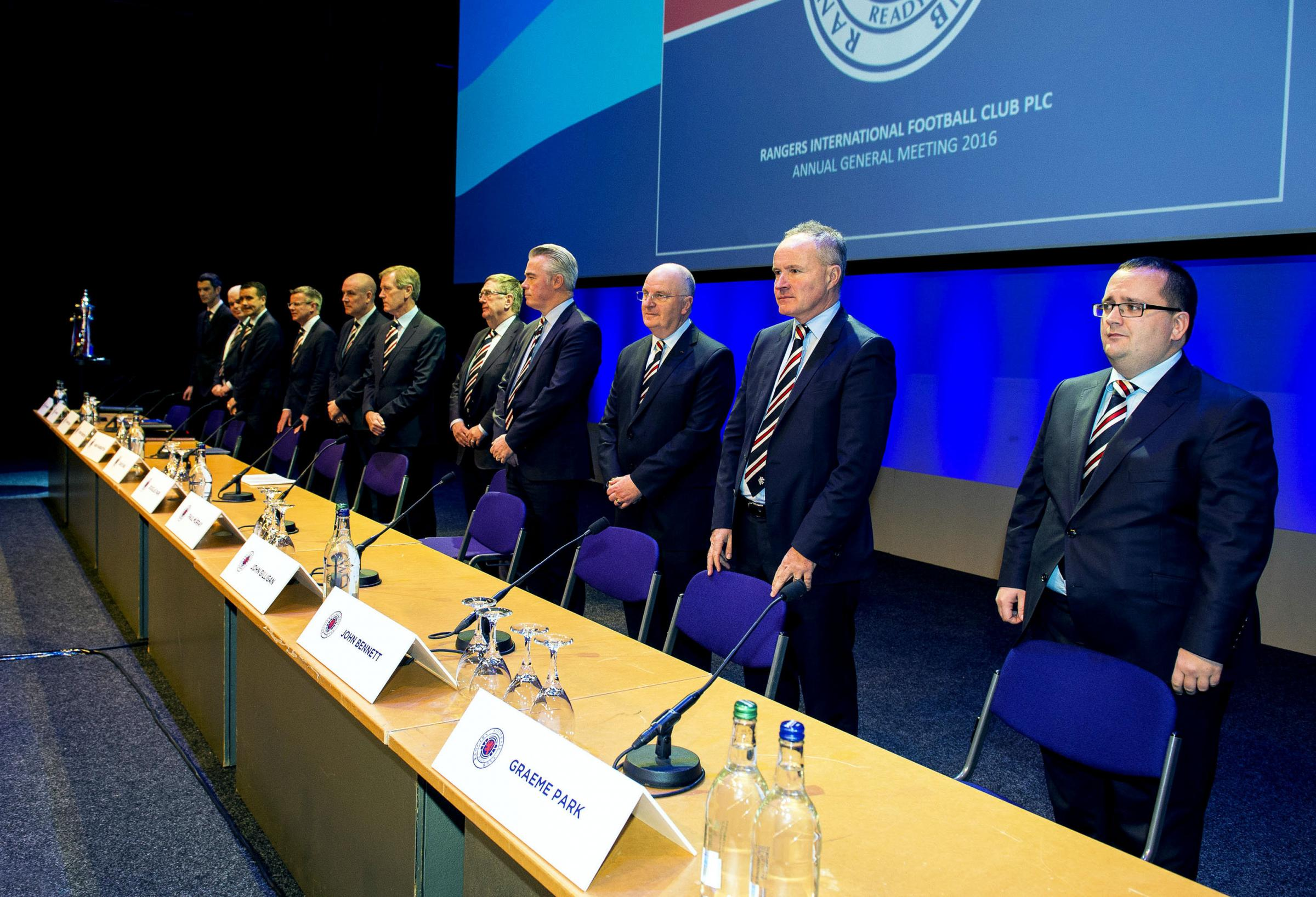 25/11/16 . CLYDE AUDITORIUM - GLASGOW . (L-R) Rangers directors Greig McKnight, James Blair, Andrew Dickson, Stewart Robertson, Mark Warburton, Dave King, Douglas Park, Paul Murray, John Gilligan, John Bennett and Graeme Park..