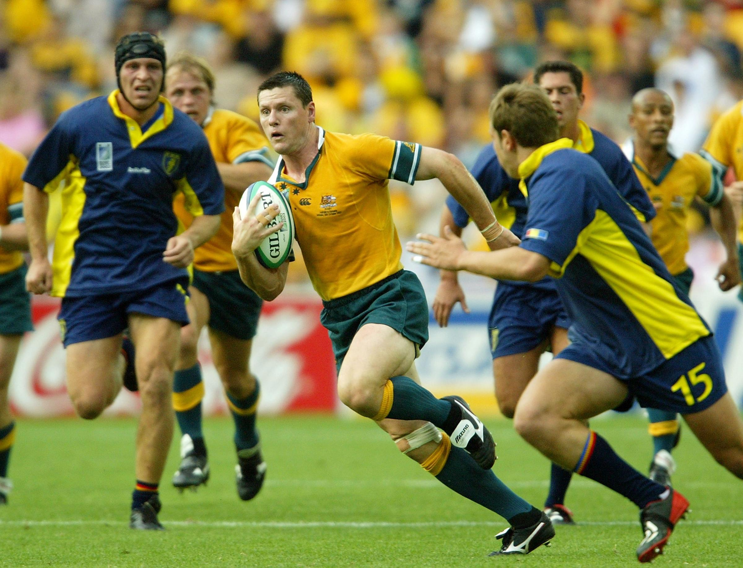 Burke won 88 caps for the Wallabies, won the World Cup in 1999, and scored 878 international points