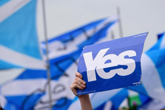 Pro independence supporters march through Glasgow.   Picture:Jeff J Mitchell/Getty Images