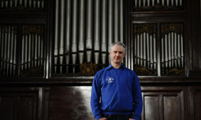 GLASGOW, SCOTLAND - NOVEMBER 27: conductor Paul McAlinden poses for a photograph at the Pearce institute on November 27, 2017 in Glasgow, Scotland.  Shot for a Herald Face to Face feature by Brian Beacom (Photo by Jamie Simpson/Herald & Times) - JS.