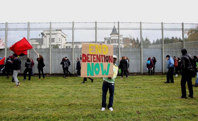 Protesters outside Scotland's only detention centre, Dunvagel House, two years ago. Picture: Gordon Terris