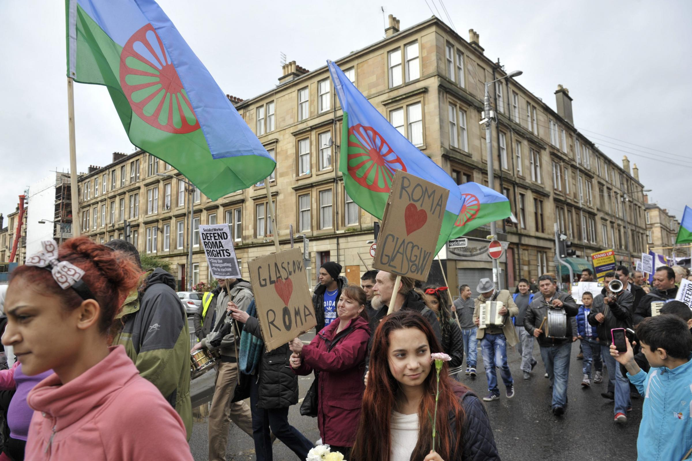 Members of the Roma community march to Govanhill to celebrate International Day of the Roma   Picture: Jamie Simpson