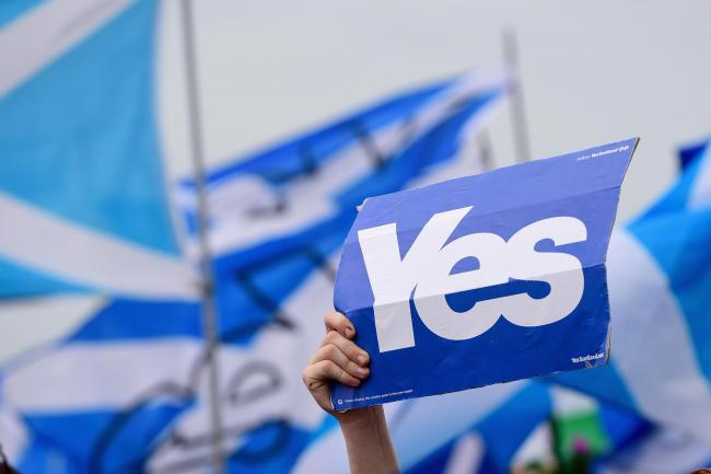Yes supporters on September 14, 2014 in Glasgow, Scotland.