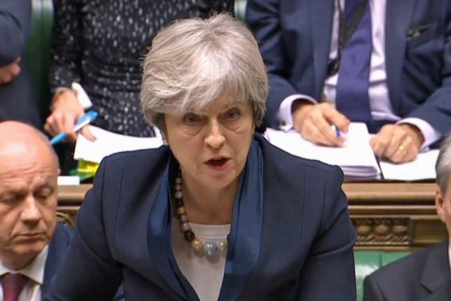 An anxious-looking Prime Minister Theresa May speaks in the House of Commons where the vote proved a damaging blow. Picture: PA Wire