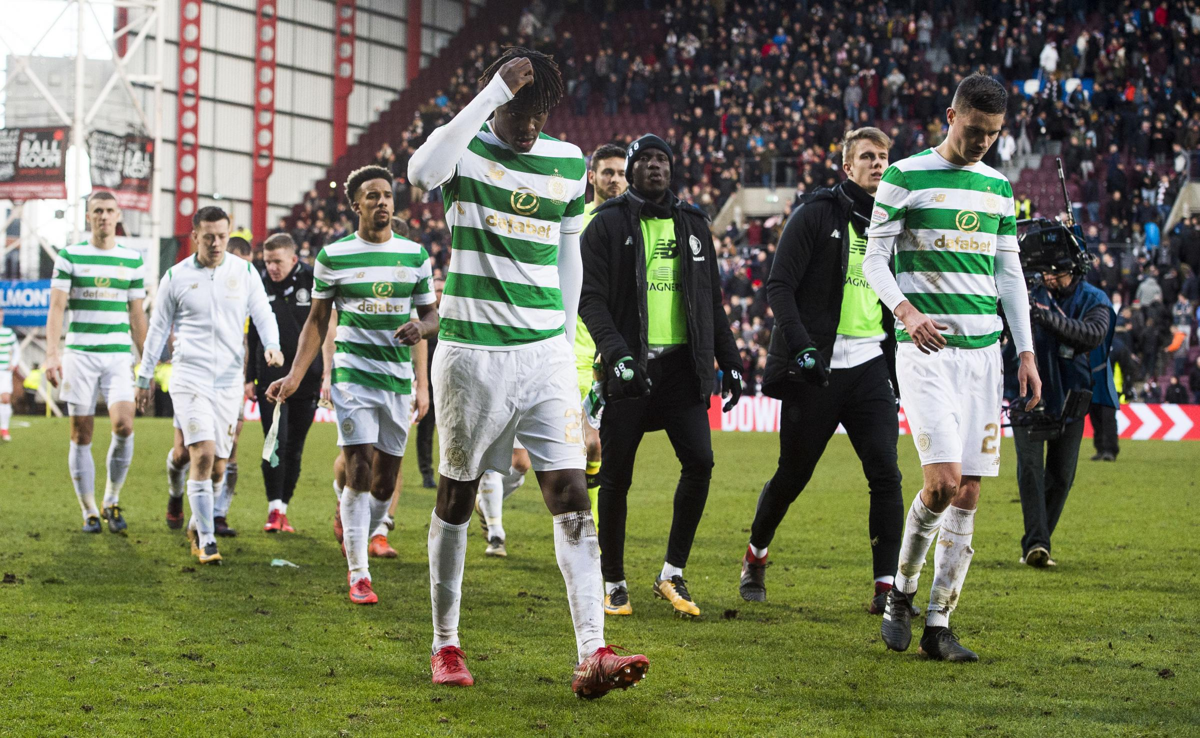 Dejection for the Celtic players at full-time