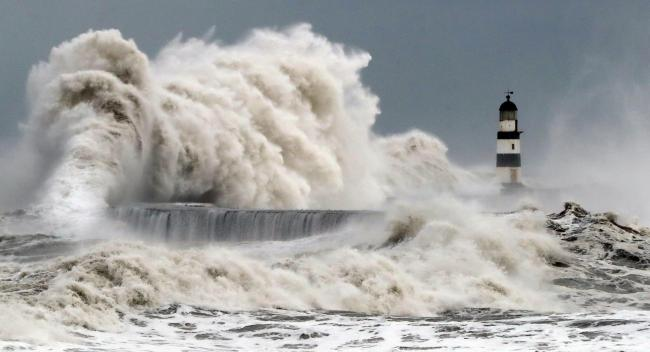 Review of the Year 2017: January: Waves crash into the sea wall at Seaham Harbour as Scotland and the North of England were covered in a blanket of snow while the east coast was braced for a storm surge. PRESS ASSOCIATION Photo. See PA story XMAS Year. Ph