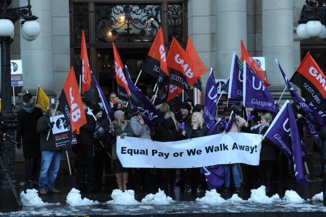Members of trade unions the GMB and Unison campaign for an equal-pay settlement outside Glasgow City Chambers earlier this year.