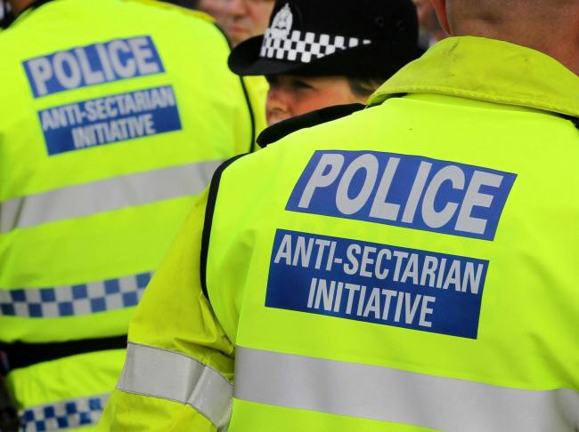 Police wearing Anti-Sectarian Initiative jackets at the Old Firm match between  Rangers and  Celtic at Ibrox. PRESS ASSOCIATION