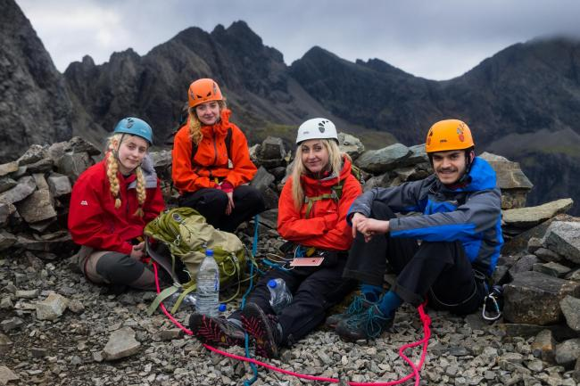 "Ceathrar air a' Chuiltheann"" / ""Four on the Cuillin"", MG ALBA's programme from December where for children from Glasgow Gaelic School took on the challenge of climbing the Cuillin ridge."