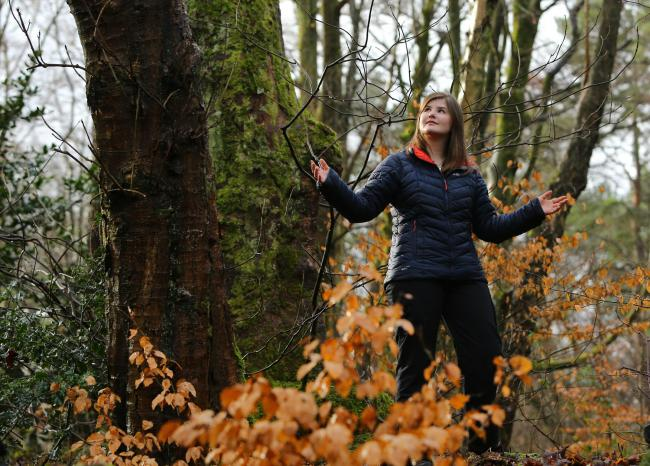 Caitlin Keddie , a certified forest therapy guide, pictured in Pollok Country Park, Glasgow. Caitlin runs Forest therapy Scotland...10 February 2018.For Sunday Herald, see story by Karin Goodwin...   Photograph by Colin Mearns..