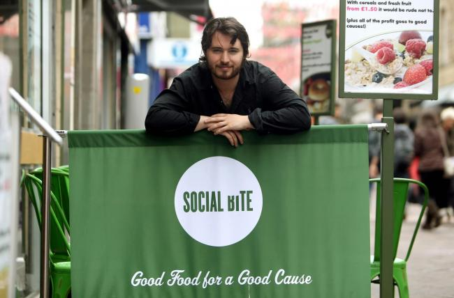 Co-founder of SocialBite sandwich shop Josh Littlejohn in Edinburgh's Rose Street. Josh recently organised an awards ceremony where Bill Clinton was a guest speaker.