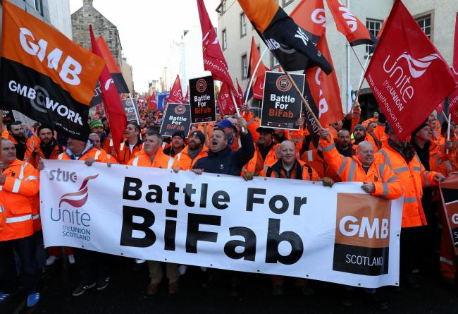 Bifab workers accuse bosses of ditching full time staff in favour of bifab workers march through edinburgh last year malvernweather Choice Image