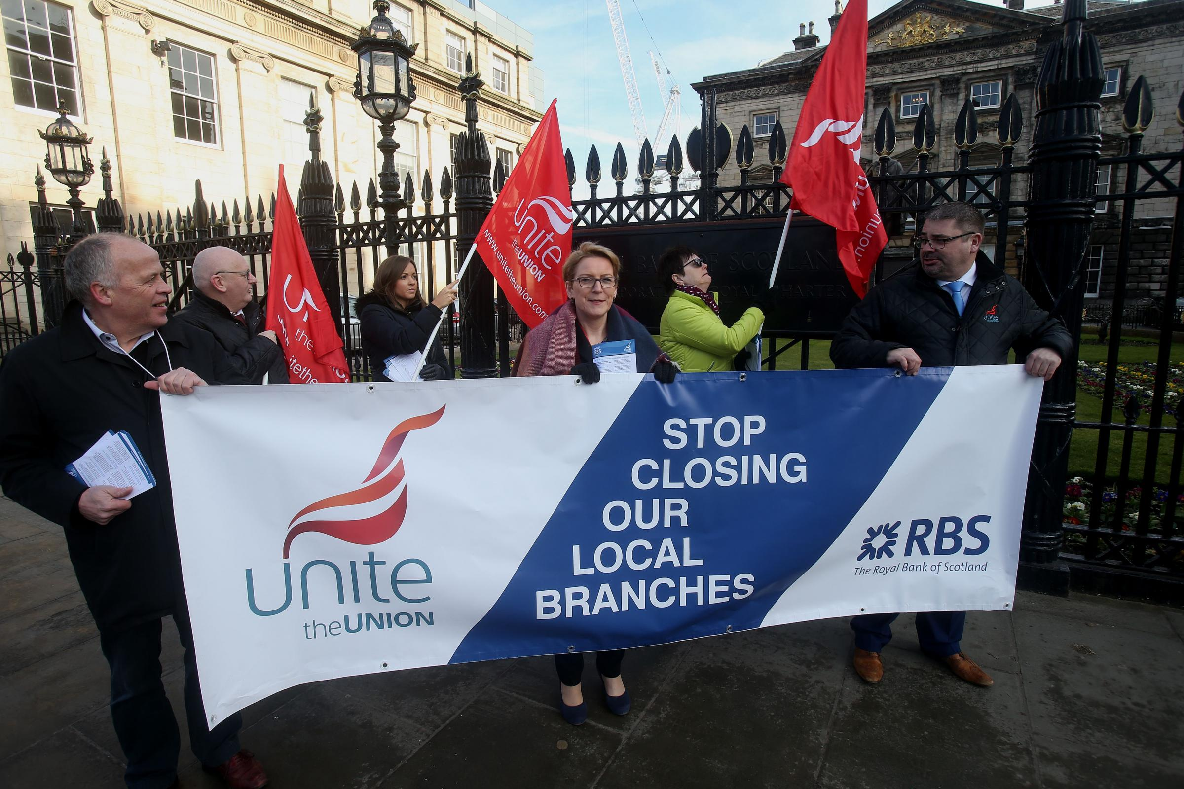 Mary Alexander, centre, joins Unite members at RBS headquarters in Edinburgh friday to protest branch closures.Pic Gordon Terris/The Herald23/2/18