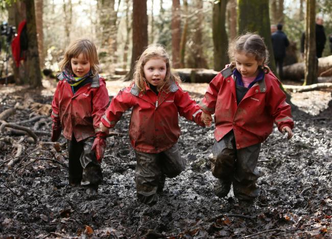 Children from the Woodland Outdoor Kindergarten in Pollok Country Park, Glasgow