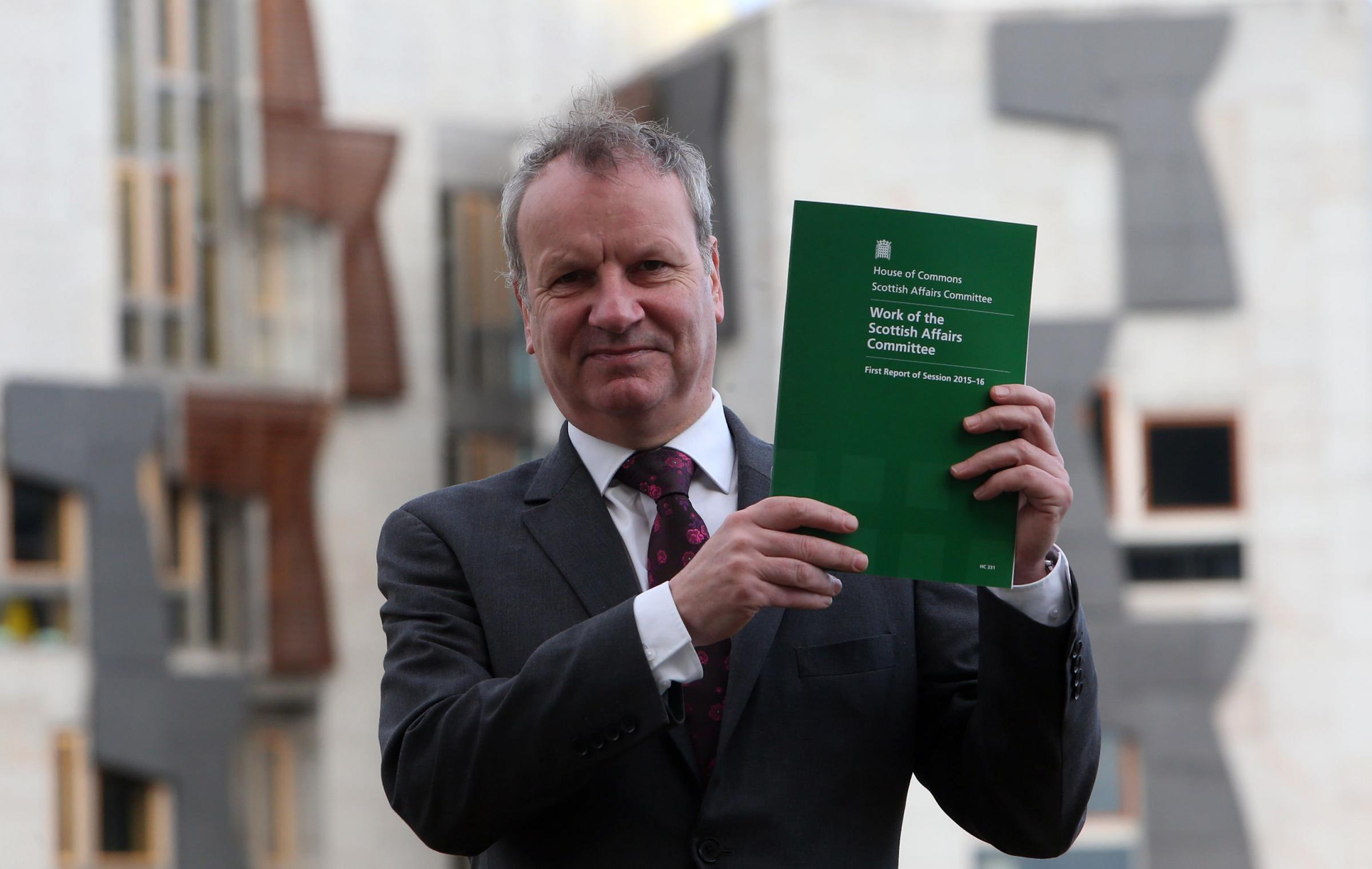 Chair of the Scottish Affairs Committee, Pete Wishart, with the first report in Edinburgh monday.Pic Gordon Terris/The Herald