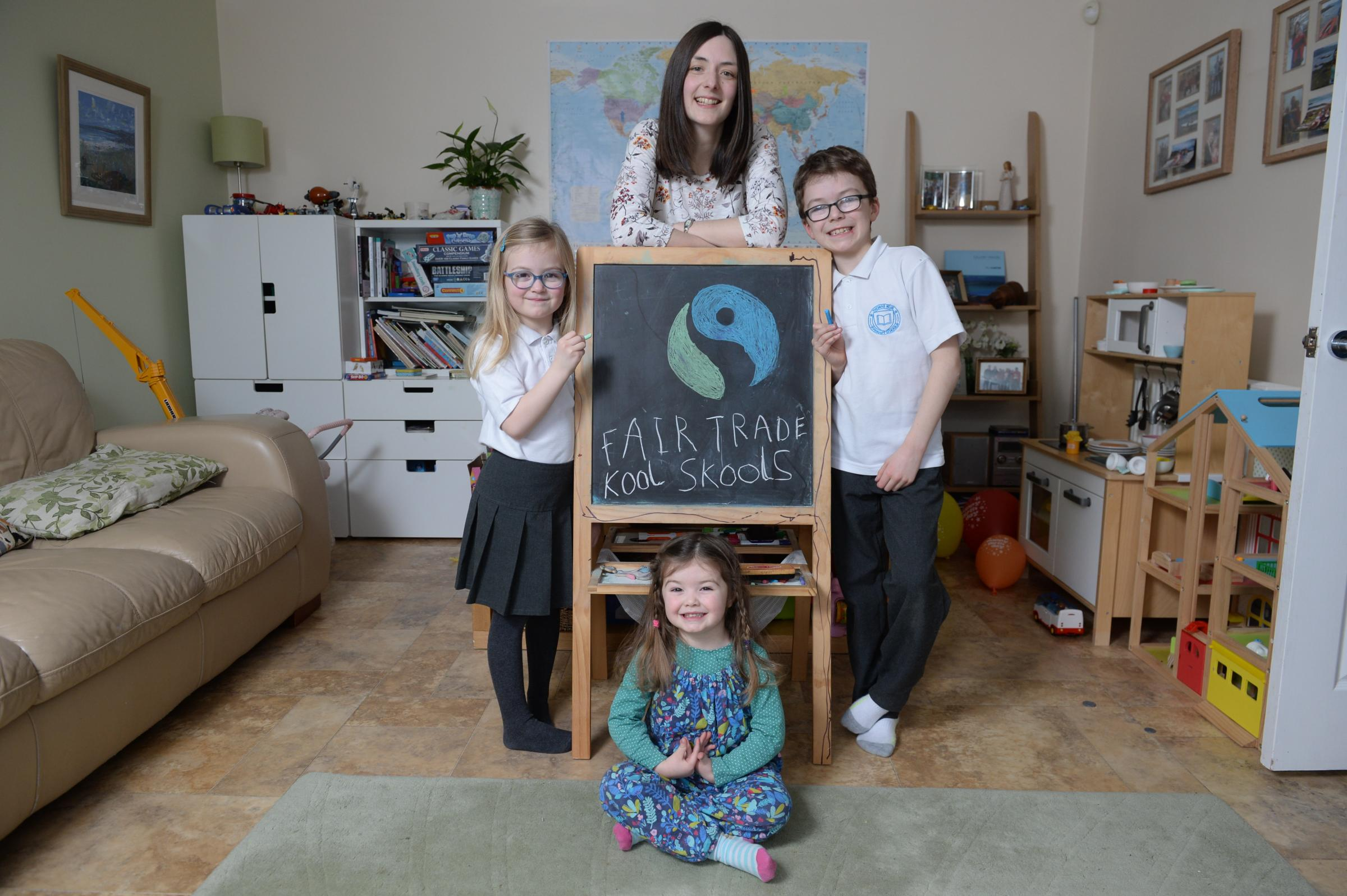Emma White, mum of Zac (8), Sophie (5) and Lucy (3), has been working with the parent council at Thomas Muir Primary School in Bishopbriggs and supplier Koolschools to provide fairtrade uniform options - pic Kirsty Anderson