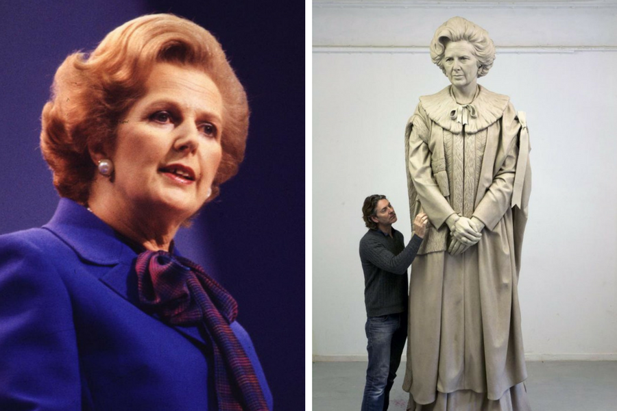 Douglas Jennings with his statue of Margaret Thatcher. PA.
