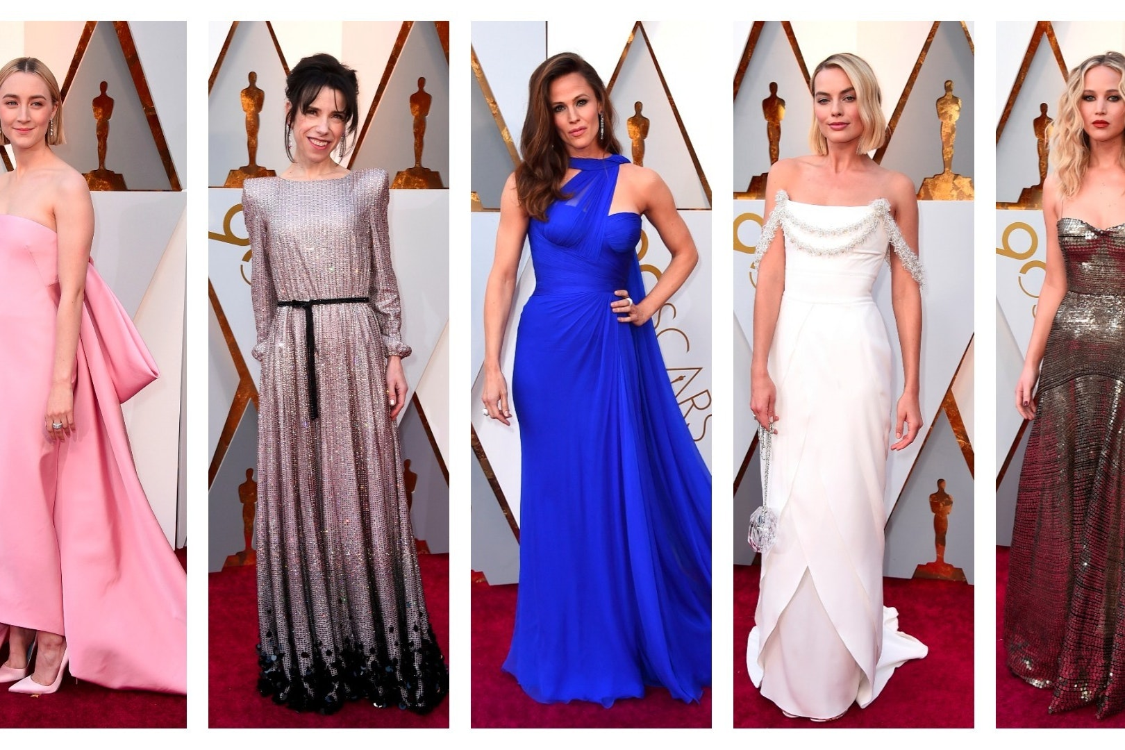 Colourful brights, whites and shimmering tones rule on Oscars red carpet (AP Images)
