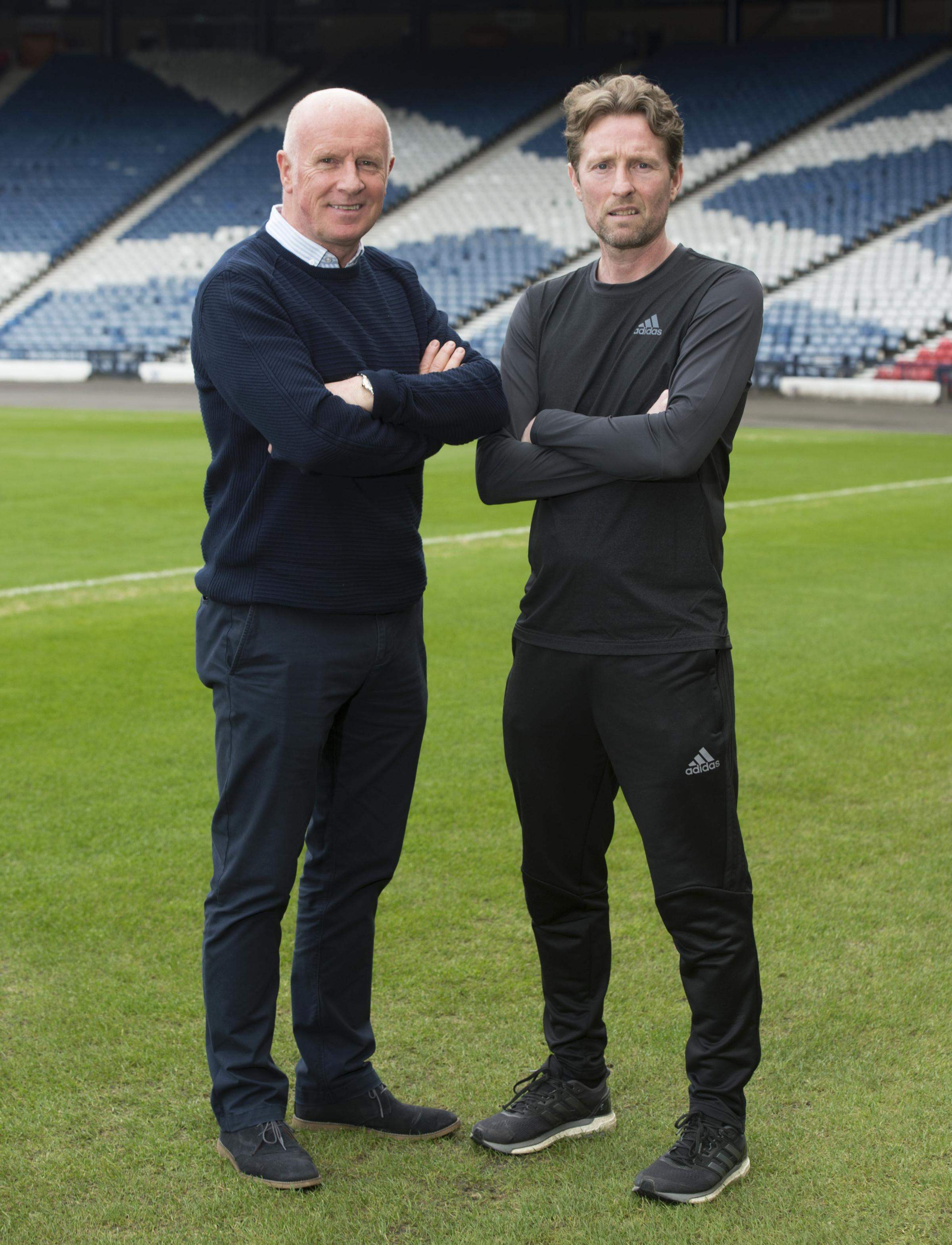 13/03/18 . HAMPDEN PARK - GLASGOW. Scotland U21 head coach Scot Gemmill (R) unveils Peter Houston as his new assistant coach..