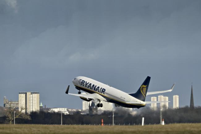 Ryanair flight taking off fro Glasgow
