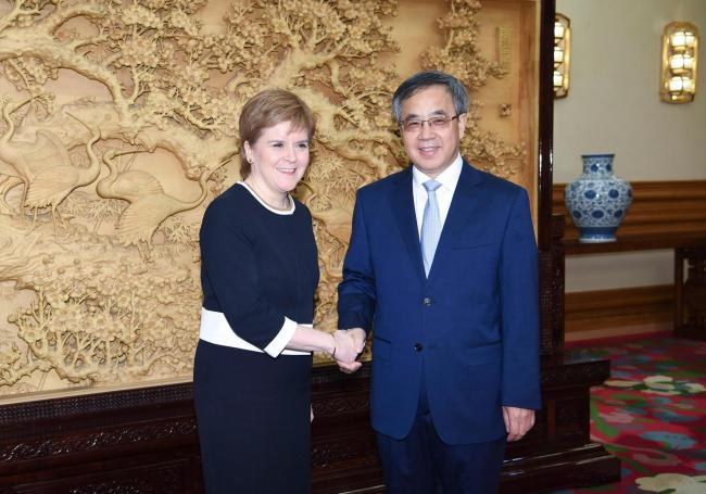 Chinese Vice Premier Hu Chunhua (R) meets with Scottish First Minister Nicola Sturgeon in Beijing, capital of China, April 9, 2018. Credit: Gao Jie/Xinhua/Alamy Live News