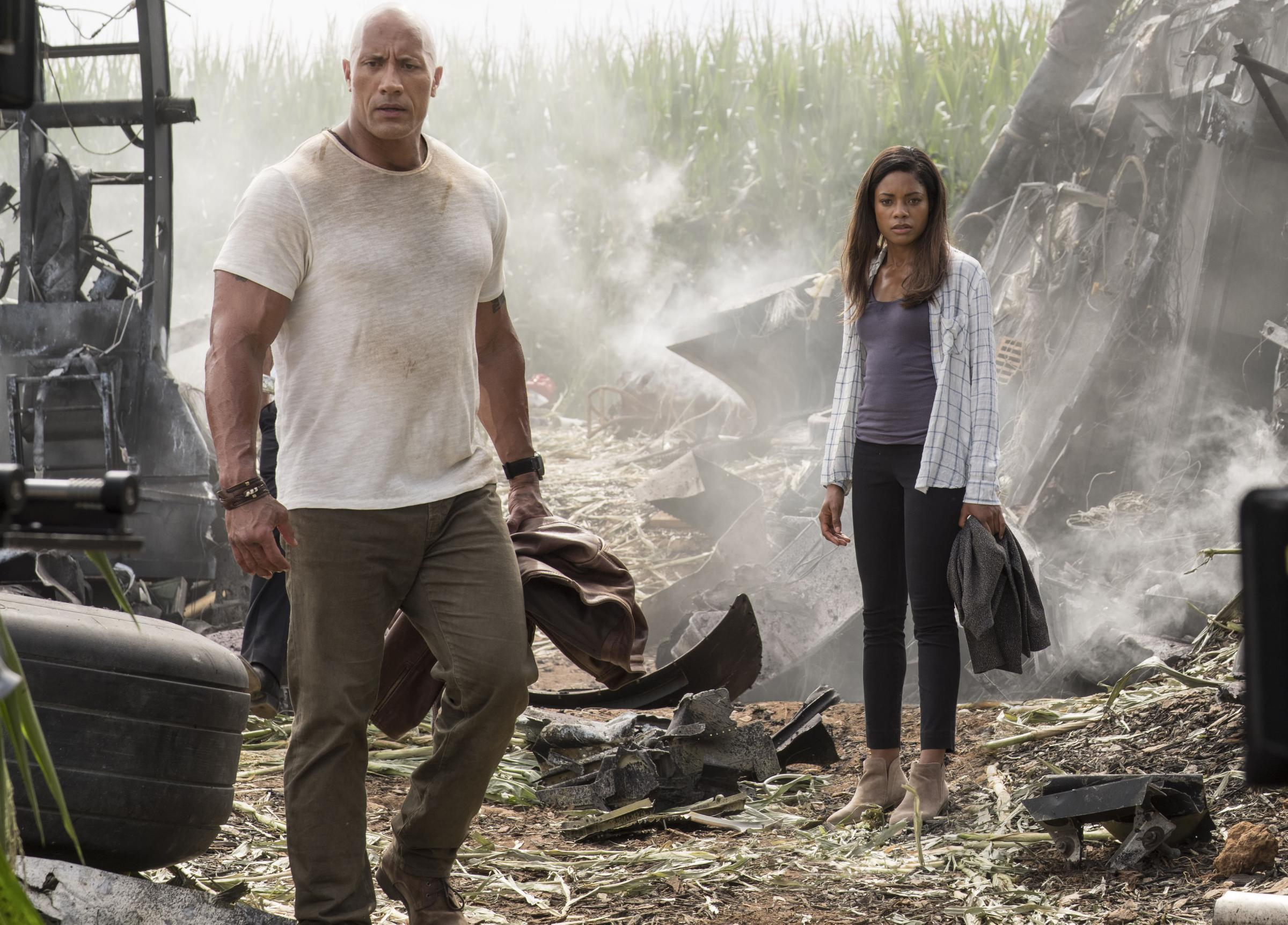 Dwayne Johnson and Naomie Harris in Rampage