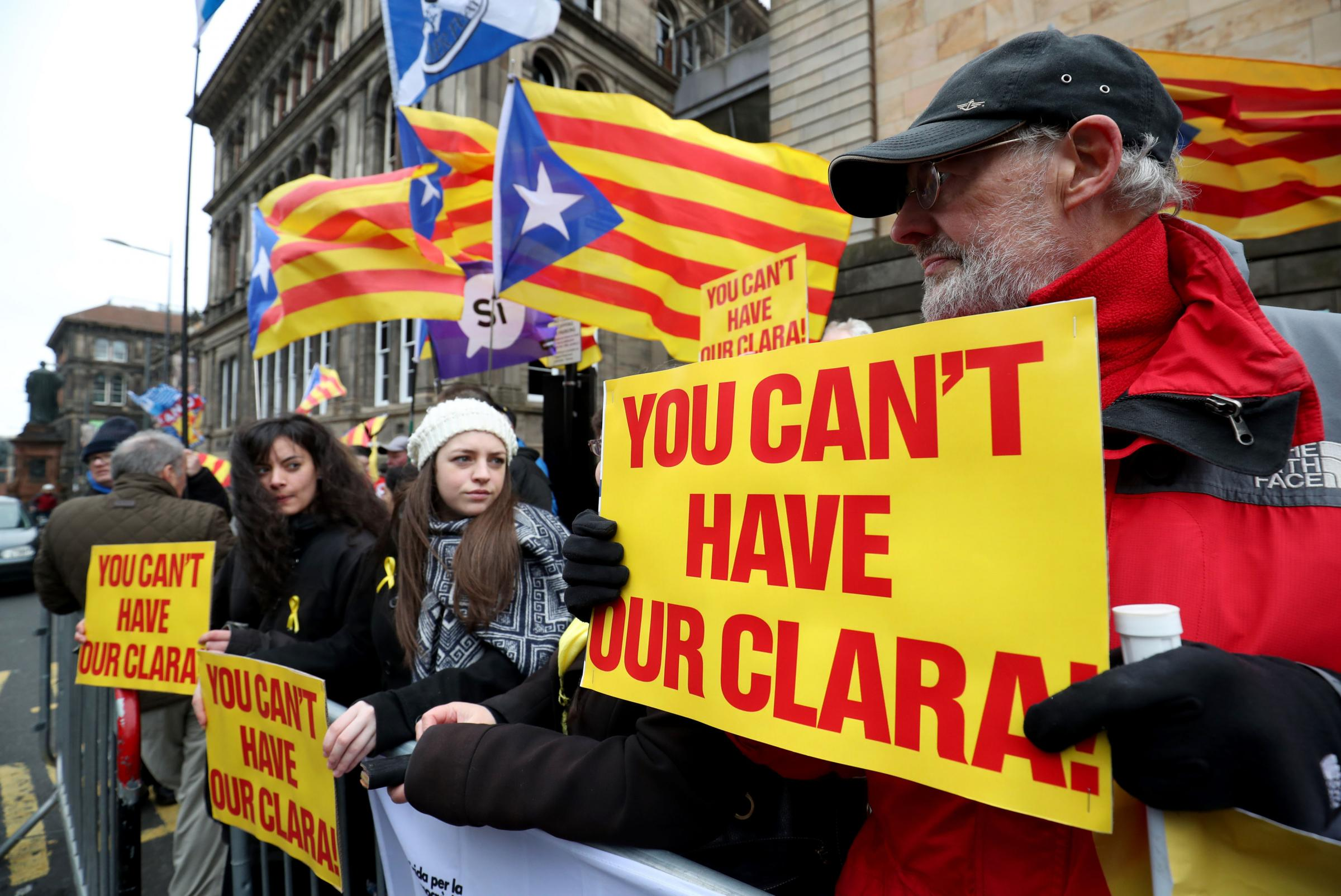 Supporters of ex-Catalan minister Clara Ponsati outside Edinburgh Sheriff Court