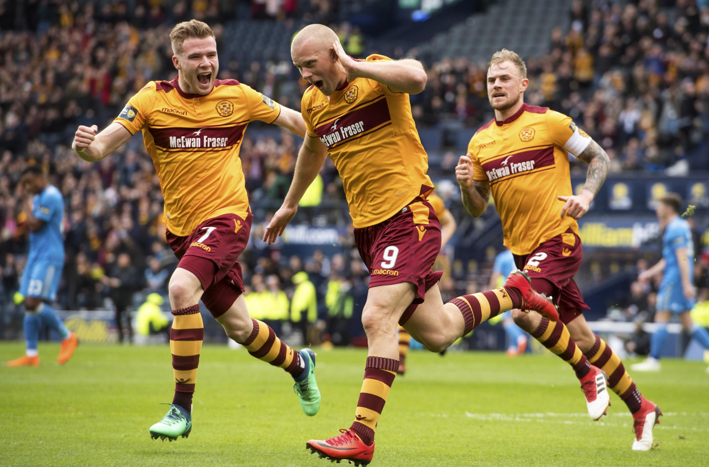 Main man: Motherwell's Curtis Main wheels away after opening the scoring against Aberdeen (Picture: SNS)