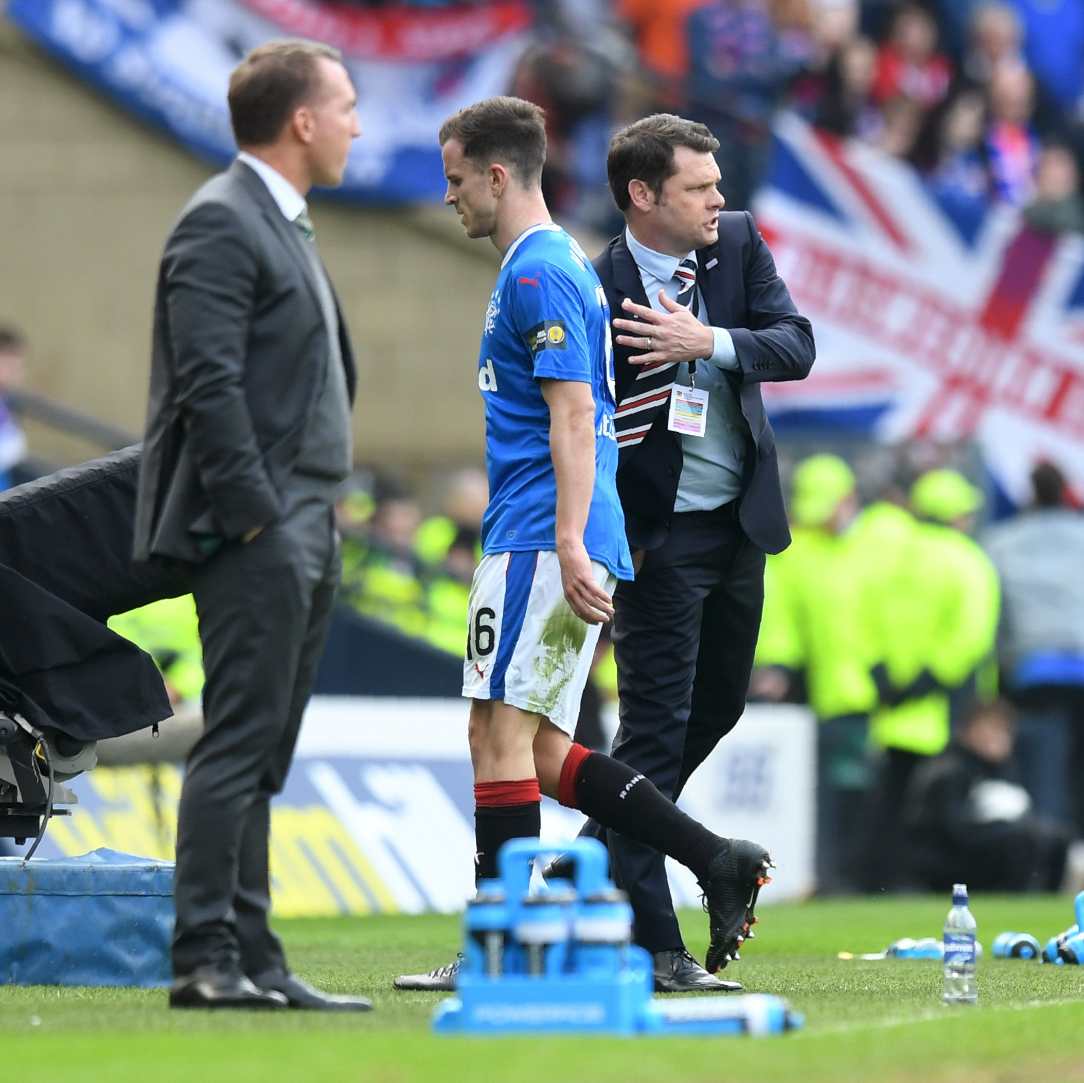 Rangers' Andy Halliday is frustrated as he is subbed in the first half