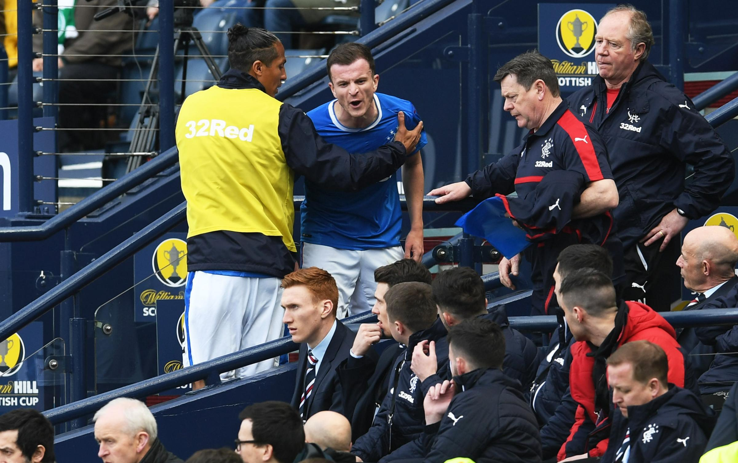 Rangers' Andy Halliday (centre) shows his frustrations after being substituted..