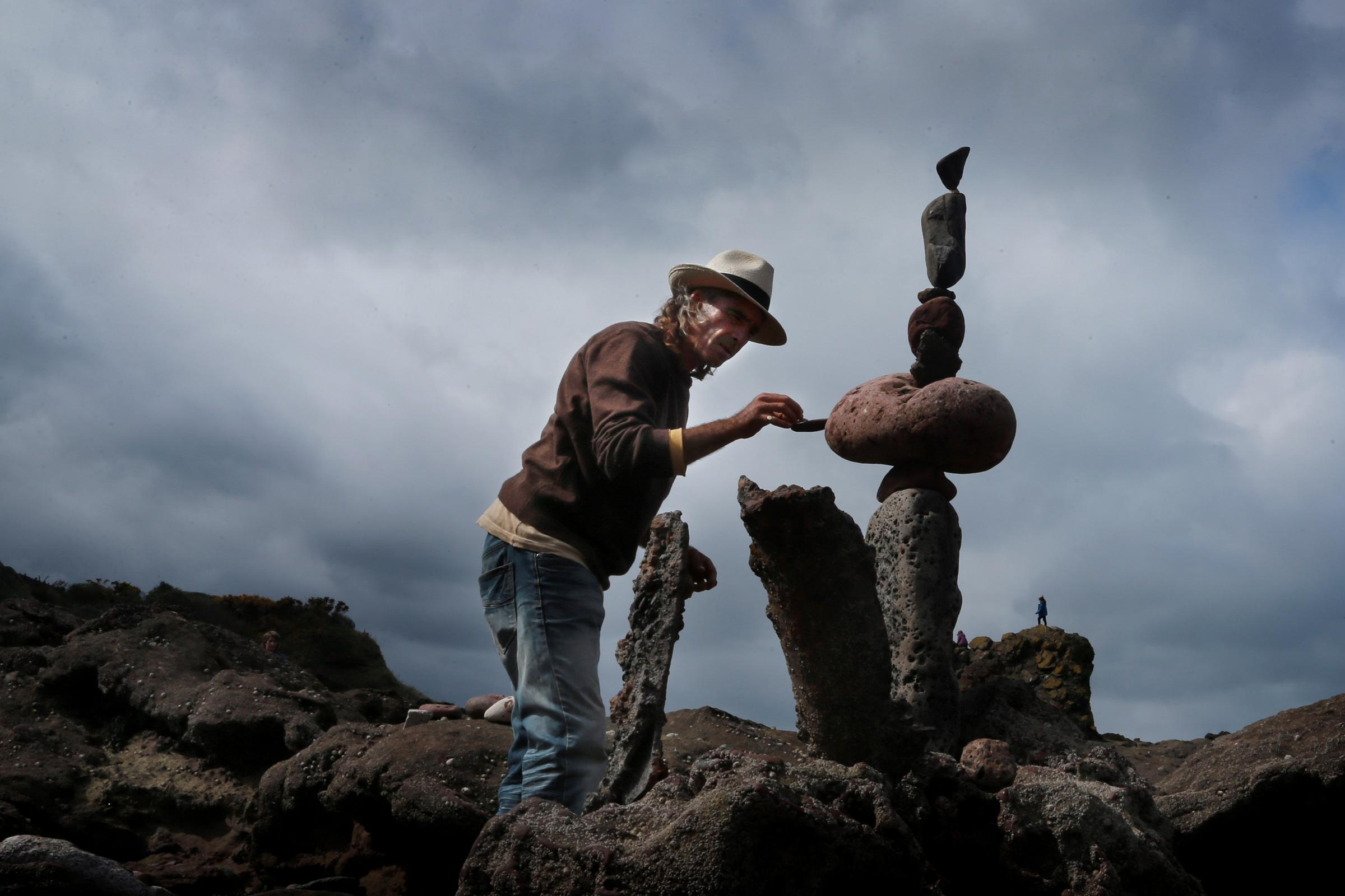 It's a balancing act as Marco Montesini, from Spain, arranges his stack. Pictures: Stewart Attwood