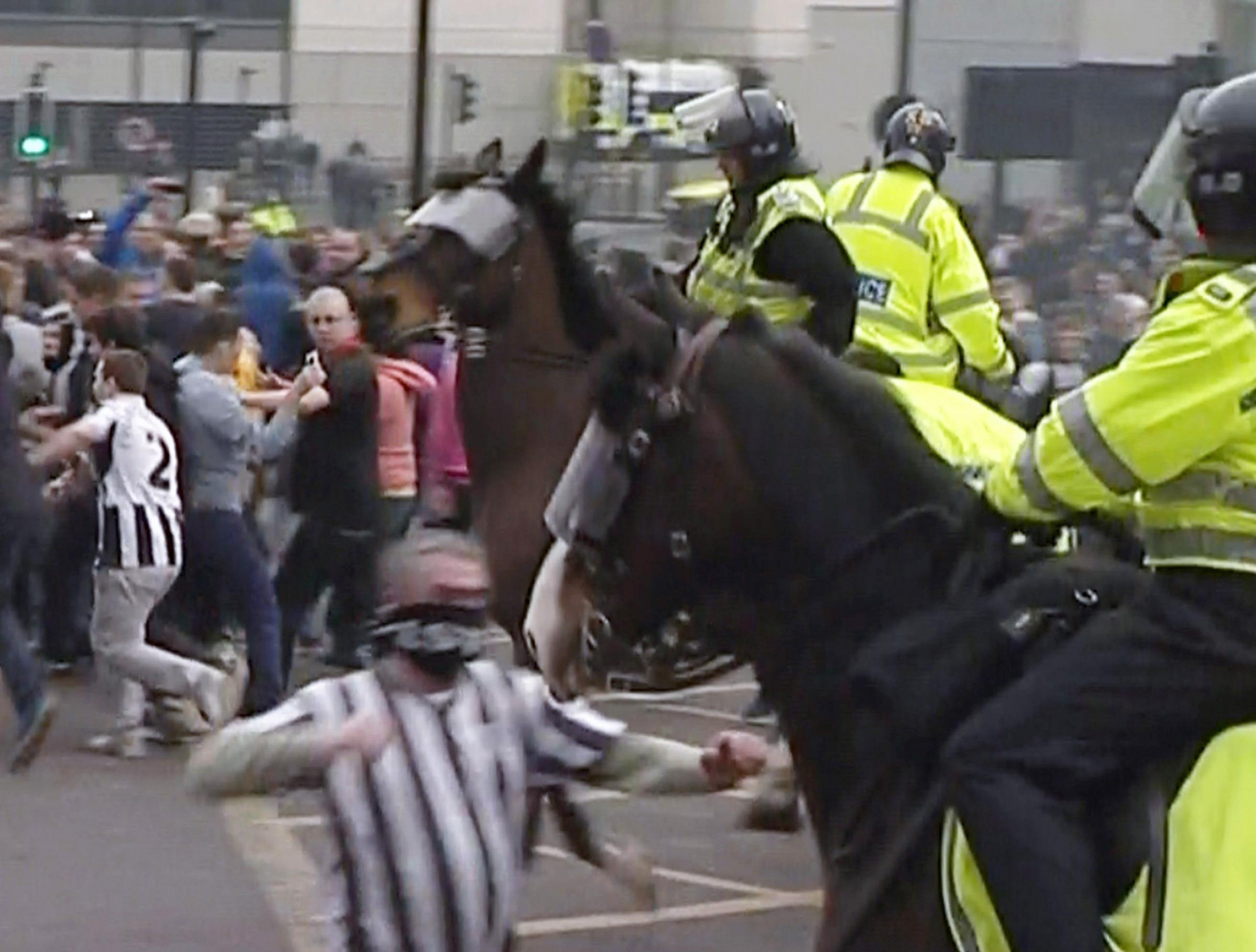 Newcastle United fan Barry Rogerson, 45, who was jailed in 2013 for punching a police horse