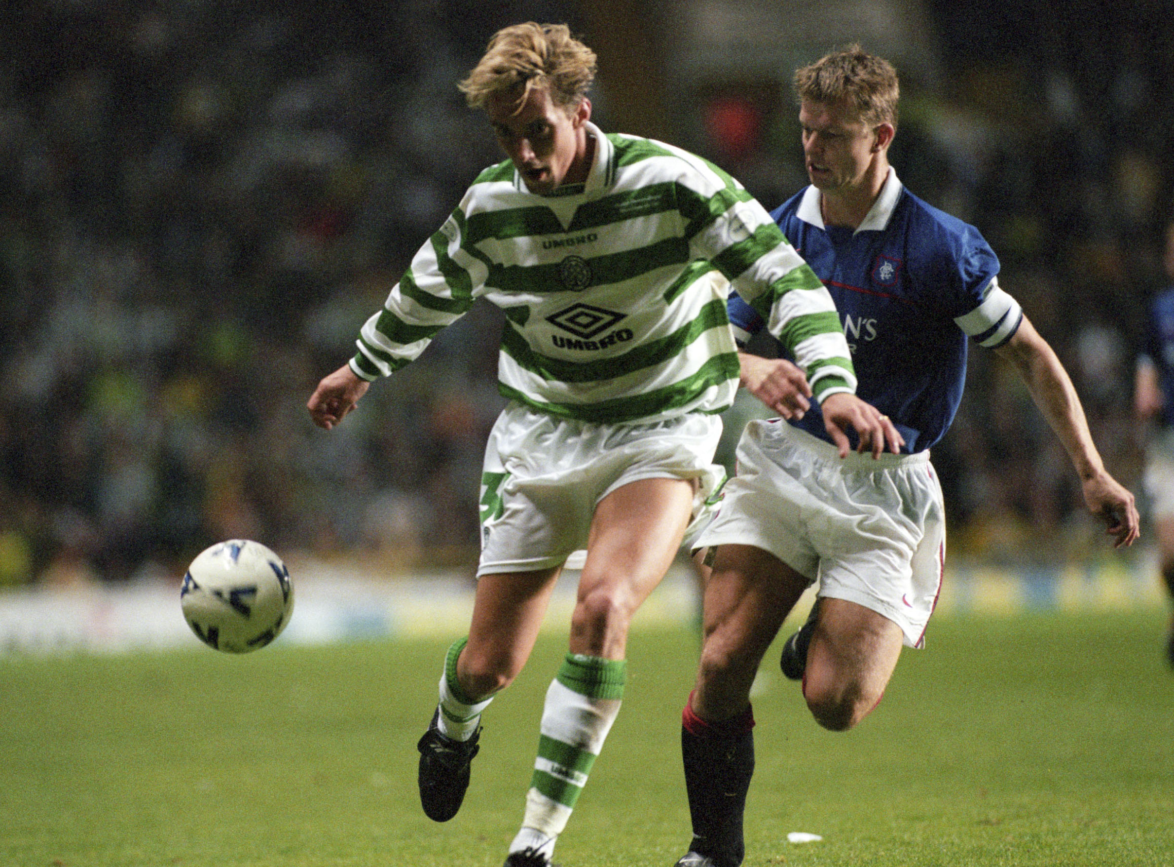 The retired Norway international was part of the Hoops team beaten 3-0 in 1999