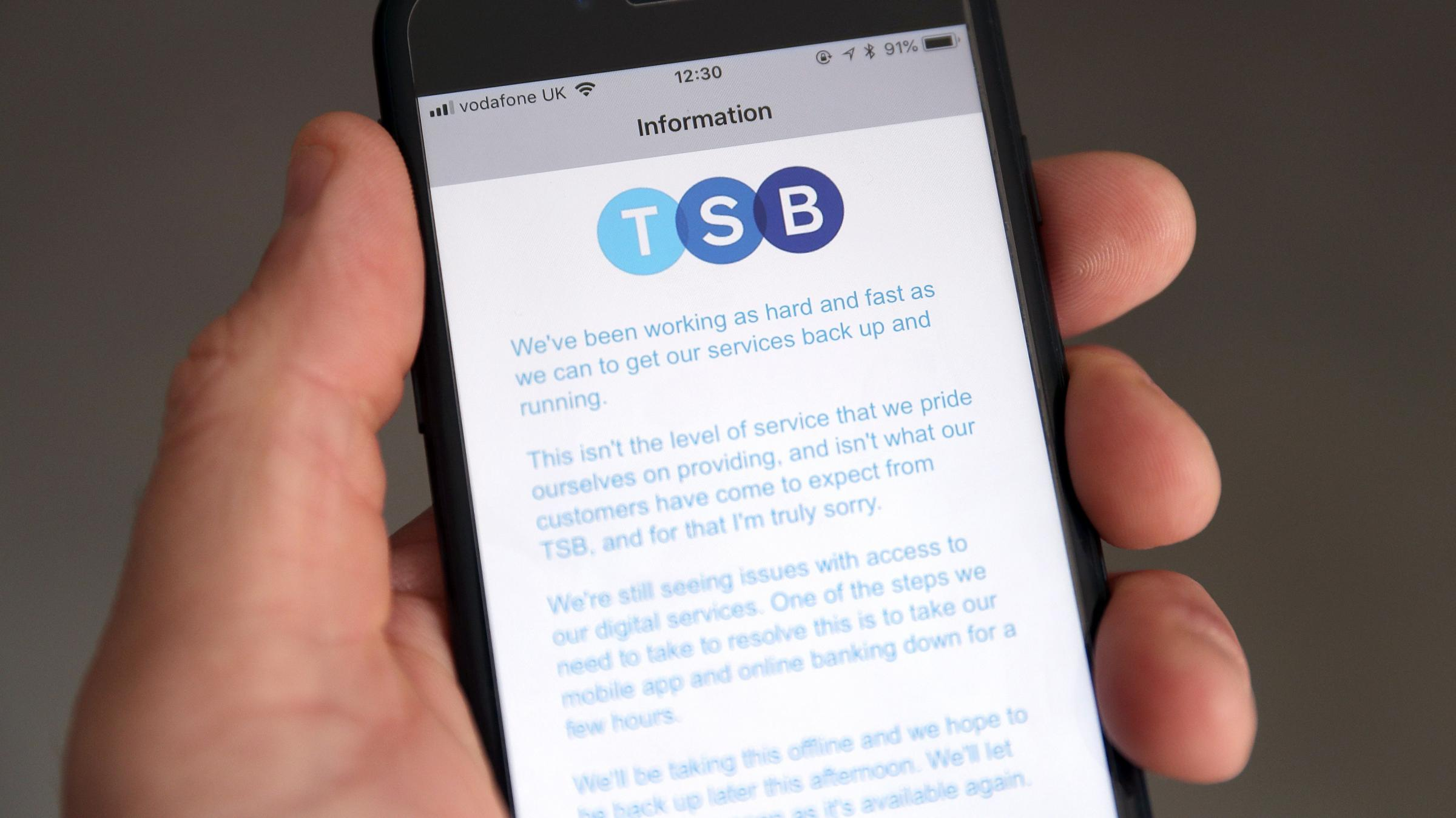 TSB internet banking operating at 50 per cent capacity, says boss