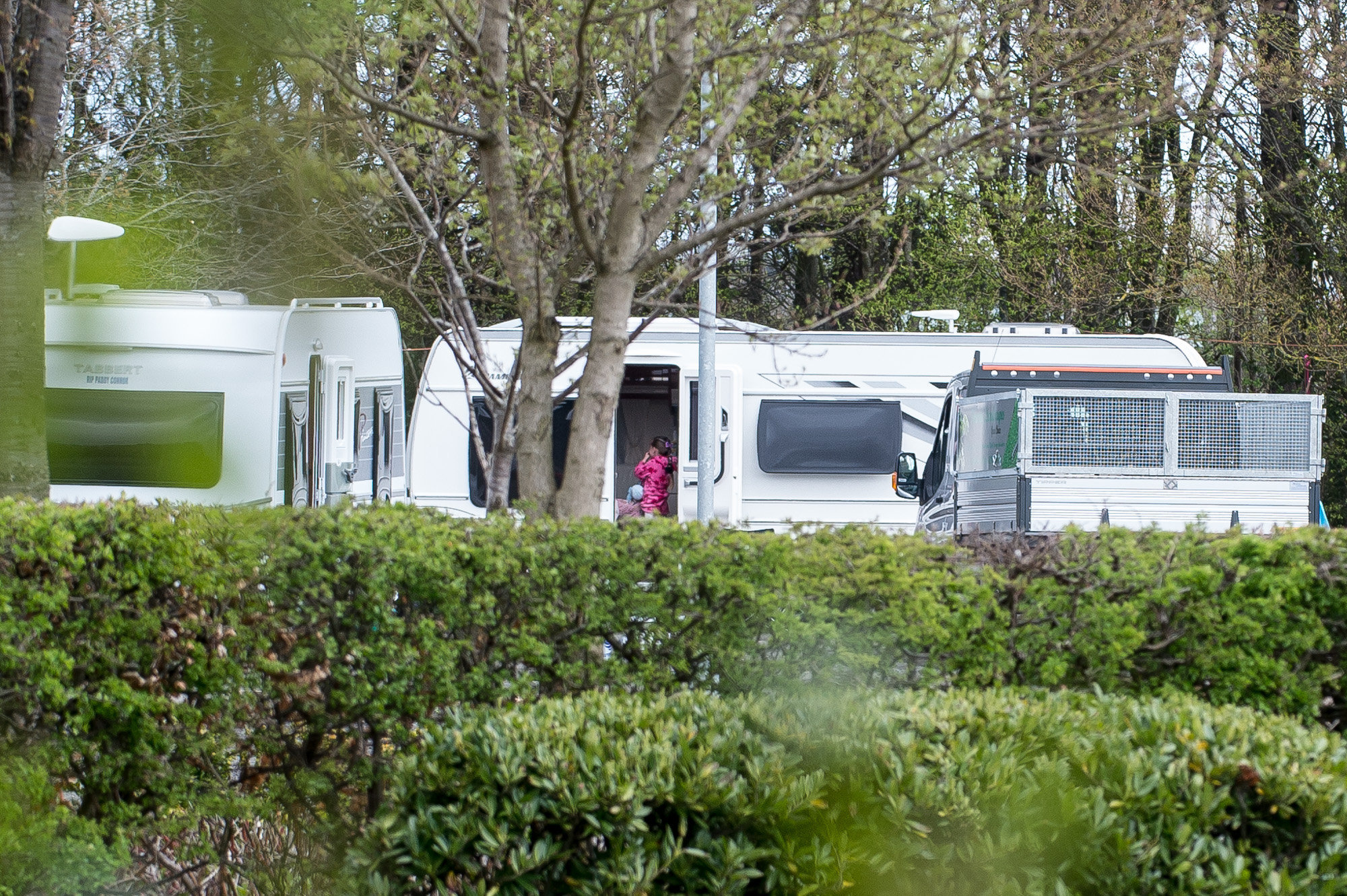 Travellers currently occupying a car park on the Heriot Watt University campus in Riccarton, Edinburgh..In  Source: Wullie Marr Photography