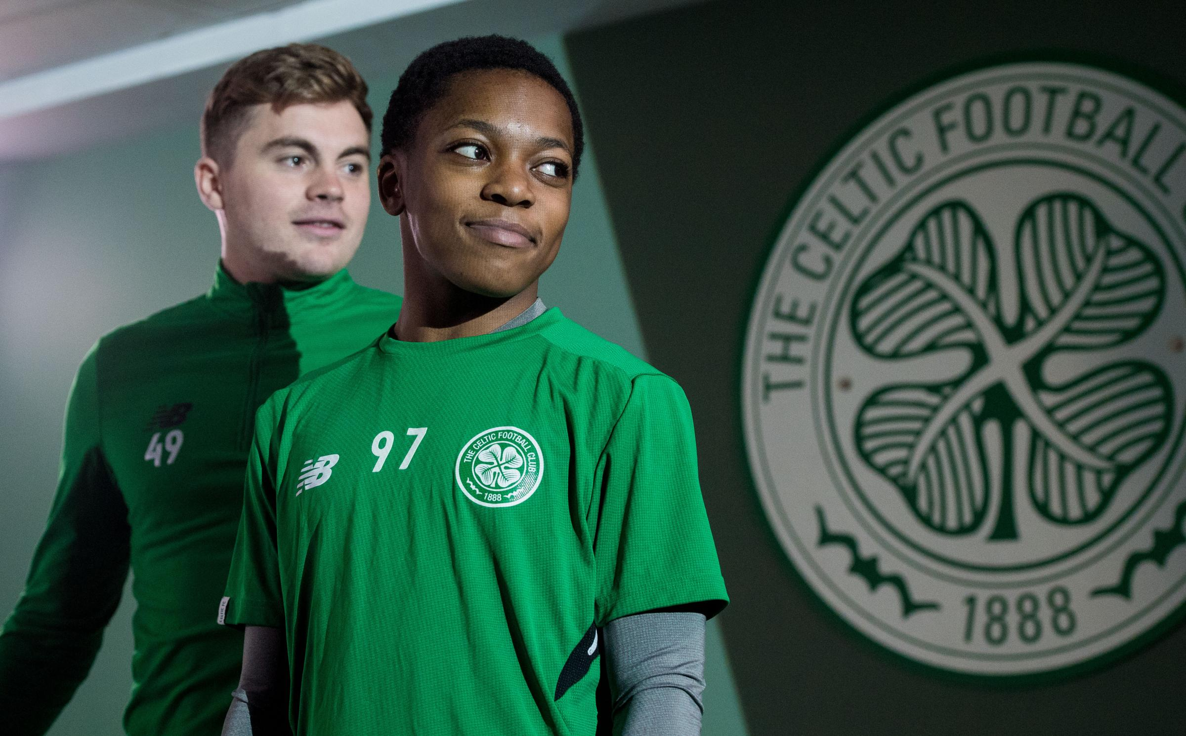 14/03/18. LENNOXTOWN. Celtic launch their season ticket advert, One Club since 1888 . .Pictured - James Forrest and Karamoko Dembele.