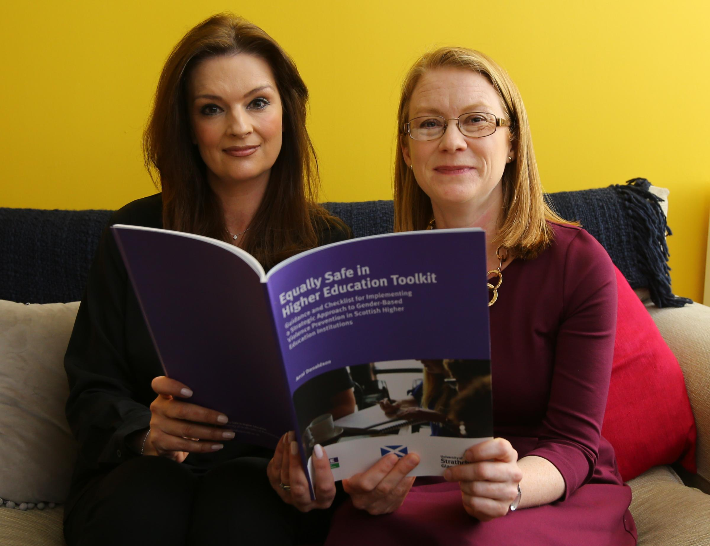 Fiona Drouet and Higher Education Minister Shirley-Anne Somerville at the launch of new guidance for universities on violence against women. Photograph by Colin Mearns